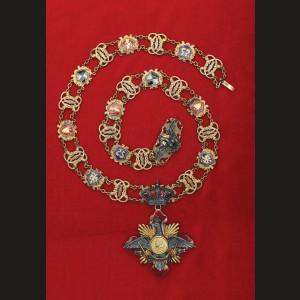 Ordinul Carol I, instituit în 1906, grad de Colan, din aur și argint, design al celebrului orfevru berlinez Paul Telge, produs de bijutierul bucureștean Josef Resch fiul