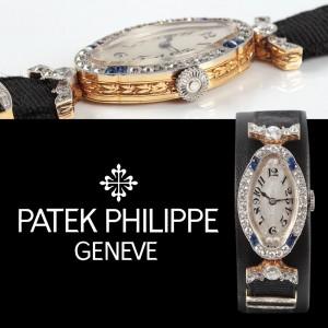 Ceas Patek Philippe, Art Deco, de mână, de damă, din aur, decorat cu diamante şi safire, cca.1920, curea originală