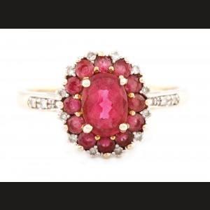 Inel din aur, decorat cu floare de turmaline și diamante