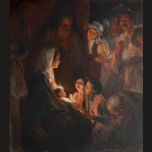 Închinarea păstorilor, cu motivele satului românesc