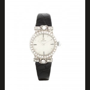 Ceas Omega, de mână, de damă, din platină, cu diamante