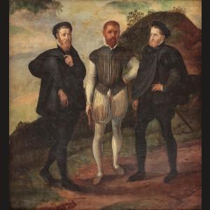 Carol Quintul cu fratele său Ferdinand şi Ducele de Milan