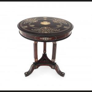 Superbă masă Paul-Charles Sormani, stil Napoleon III, din lemn de mahon, intarsii din fildeș, decorată cu scutul heraldic al familiei Rosetti-Roznovanu, cca. 1880, piesă de colecție