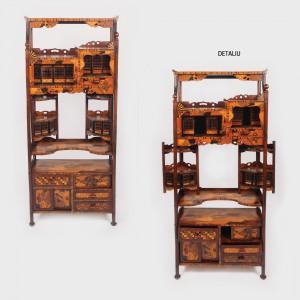 Etajeră Art Deco din lemn exotic, pentru curiozităţi şi obiecte de colecţie, începutul sec. XX