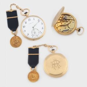 Ceas L. Leroy & Cie, de buzunar, din aur, decorat cu monedă reprezentându-l pe Sfântul Gheorghe, cca. 1900, piesă rară