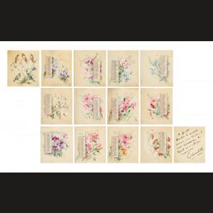 Calendarul anului 1898, pictat cu motive florale și panseuri