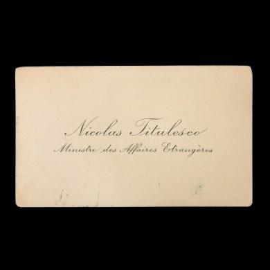 Carte de vizită a lui Nicolae Titulescu, ministru al afacerilor străine în perioada interbelică