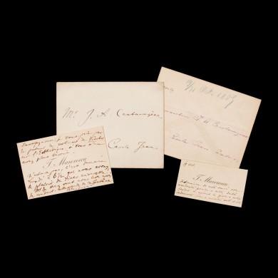 """Lot format din două cărți de vizită ale lui Titu Maiorescu (în mai multe rânduri ministru al Cultelor şi Instrucţiunii Publice), cu însemnările sale olografe, adresate bunului prieten Ioan Alexandru (""""Zizin"""") Cantacuzino, diplomat și literat, în plicurile originale, 1889"""