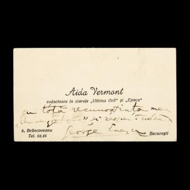 Însemnare a lui George Enescu, semnată olograf, pe cartea de vizită a jurnalistei Aidei Vermont