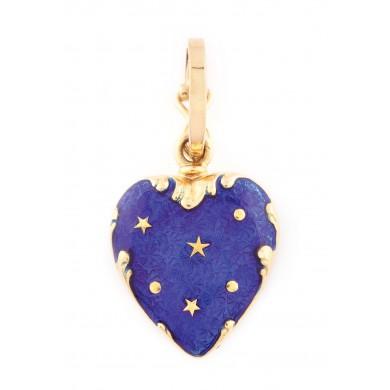 Pandantiv Fabergé din aur, în formă de inimă, decorat cu email