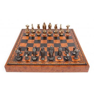 Joc de șah casetat, cu tabla de joc din piele, anii 1970