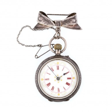 Ceas-broșă de buzunar, de damă, din argint, 1930-1940