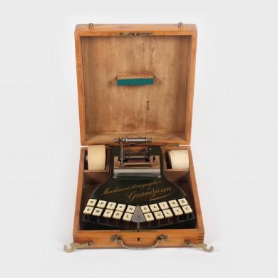 Stenograf Grandjean, în cutie originală din lemn, anii '20, însoțit de instrucțiuni tehnice și materiale de reclamă