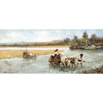 Care cu boi traversând apa