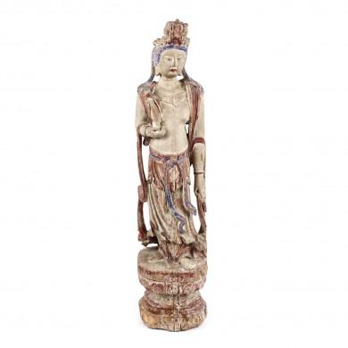 Statuetă din lemn exotic pictat, ilustrând-o pe Guanyin, zeița înțelepciunii și a compasiunii, dinastia Song, China, sec. XII-XIII
