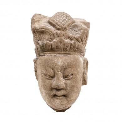 Fragment de statuetă, parțial aurită și pictată, ilustrând un demnitar, dinastia Qing, China, sec. XVIII-XIX
