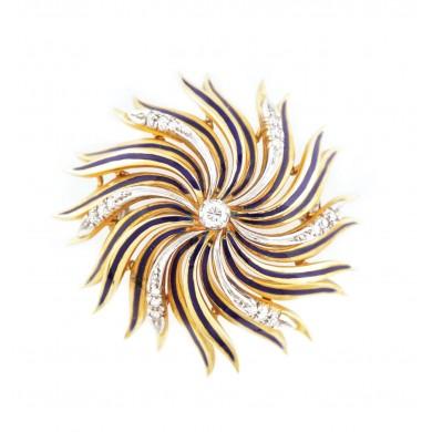 Broșă din aur, decorată cu diamante și email