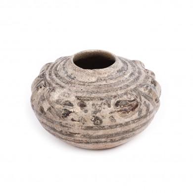 Bol miniatural cu capac, din ceramică, decorat cu doi șerpi, dinastia Song, China. sec. X-XI