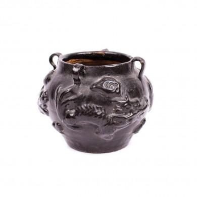 Vas din ceramică, glazurat negru monocrom, decorat cu dragoni, în stilul dinastiei Song de Nord, perioada dinastiei Qing, China, sec. XIX