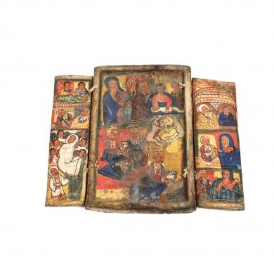 """Triptic din lemn exotic, """"Nașterea Domnului și scene din viața Maicii Domnului"""", Etiopia, sec. XVIII"""