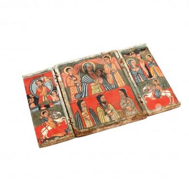 """Triptic din lemn exotic, """"Maica Domnului cu Pruncul și Arhanghelii, Răstignirea, Judecata de Apoi etc."""", Etiopia, sec. XVIII"""