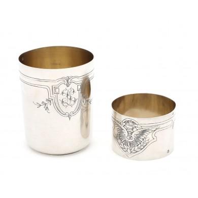 Set din argint Raymond Collet, format din pahar și inel pentru șervețele, cca. 1911