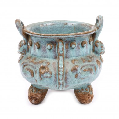 """Interesant vas cu glazură """"albastru pudrat"""", în maniera """"Jun"""", perioada dinastiei Ming, China, sec. XV"""