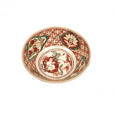 Bol din ceramică, decorat cu nalbe, bujori și un iepure, simbol al bunăstării, dinastia Ming, China, sec. XIV-XVII