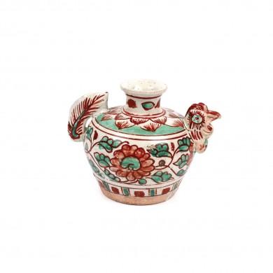 Atipic vas miniatural din ceramică, în formă de cocoș, decorat cu motive vegetale, dinastia Ming, China, sec. XIV-XVII