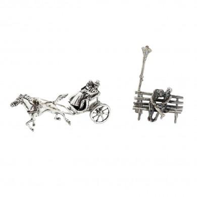 Două miniaturi din argint, prezentând cupluri de îndrăgostiți