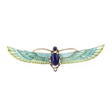 Broșă Art Deco, din argint aurit, decorată cu email și Lapiz Lazuli