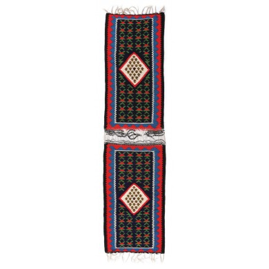 Două carpete bănățene netăiate, din lână, decorate cu motive geometrice, producție rurală, cca. 1970