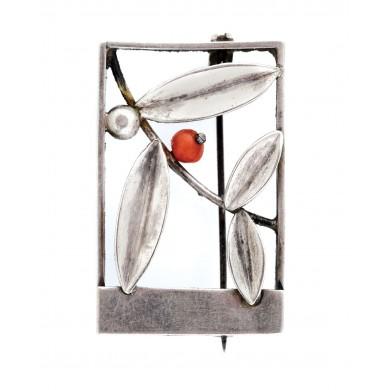 Broșă din argint, decorată cu coral, piesă de designer, executată manual