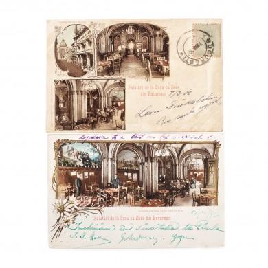 """Lot format din două cărţi poștale reprezentând interiorul celebrului restaurant bucureștean """"Caru cu Bere"""", 1902-1903"""