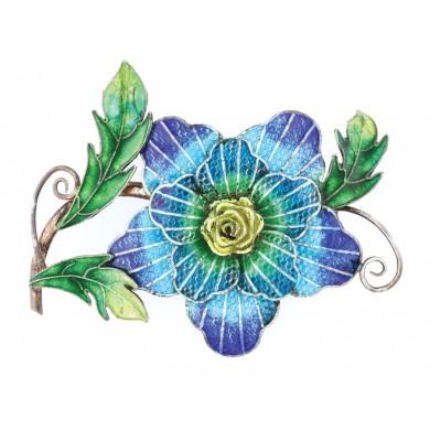 """""""Petunia"""" - broșă Art Nouveau din argint, decorată cu email plique-à-jour și champlevé, cca. 1920"""
