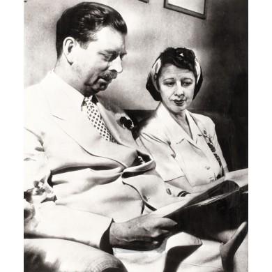 Fotografie de presă reprezentându-l pe Regele Carol al II-lea alături de Elena Lupescu, Brazilia, 1953