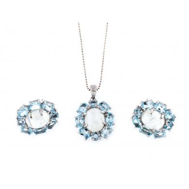 Set compus din pereche de cercei și pandantiv din argint aurit, decorat cu pietrele lunii și topaze