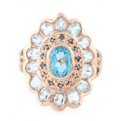 Inel din argint aurit, decorat cu topaze și safire