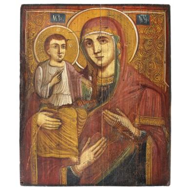"""Icoană pe lemn, """"Maica Domnului Trihirussa"""", școală românească, sec. XIX, provine din colecţia Lucrezia și Ion Pacea"""