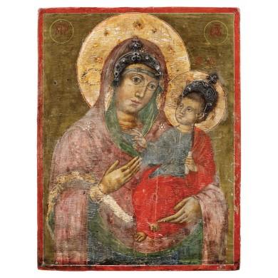 """Icoană pe lemn, """"Maica Domnului cu Pruncul"""" (Hodighitria), școală grecească, sec. XIX, provine din colecţia Lucrezia și Ion Pacea"""