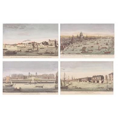 Lot format din 4 cromolitografii reprezentând vederi de pe Tamisa