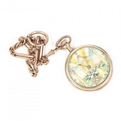 Deosebit ceas de buzunar, decorat cu însemne masonice