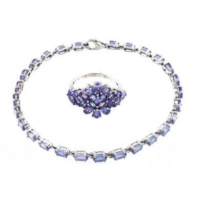Set din argint, format din inel și brățară, decorat cu tanzanite