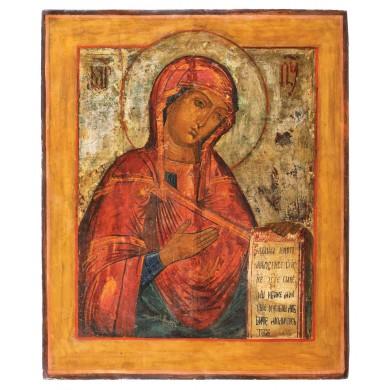 """Icoană pe lemn, """"Maica Domnului"""", școală rusească, sec. XIX, provine din colecţia Lucrezia și Ion Pacea"""
