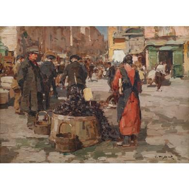 Vânzătorul de stridii în piața din Napoli