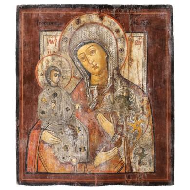 """Icoană pe lemn, """"Maica Domnului Trihirussa"""", școală rusească, sec. XIX, provine din colecţia Lucrezia și Ion Pacea"""