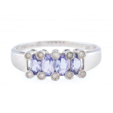 Inel din aur alb, ornat cu tanzanite și diamante