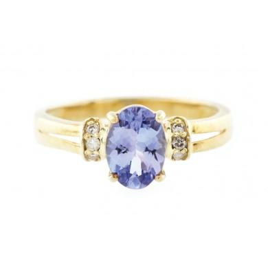 Inel din argint aurit, decorat cu tanzanit și diamante