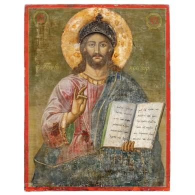 """Icoană pe lemn, """"Iisus Pantocrator"""", școală grecească, sec. XIX, provine din colecţia Lucrezia și Ion Pacea"""
