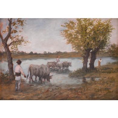 Care cu boi pe malul apei